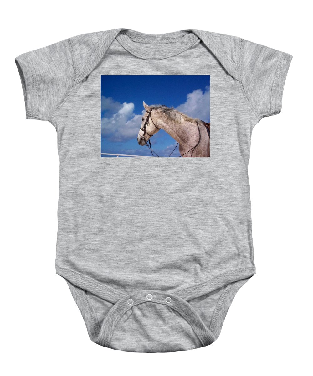 Charity Baby Onesie featuring the photograph Pancho by Mary-Lee Sanders