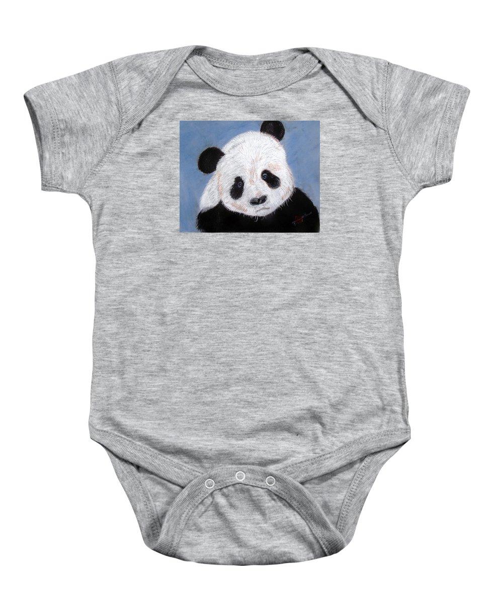 Pandas Baby Onesie featuring the pastel Panda by Arlene Wright-Correll