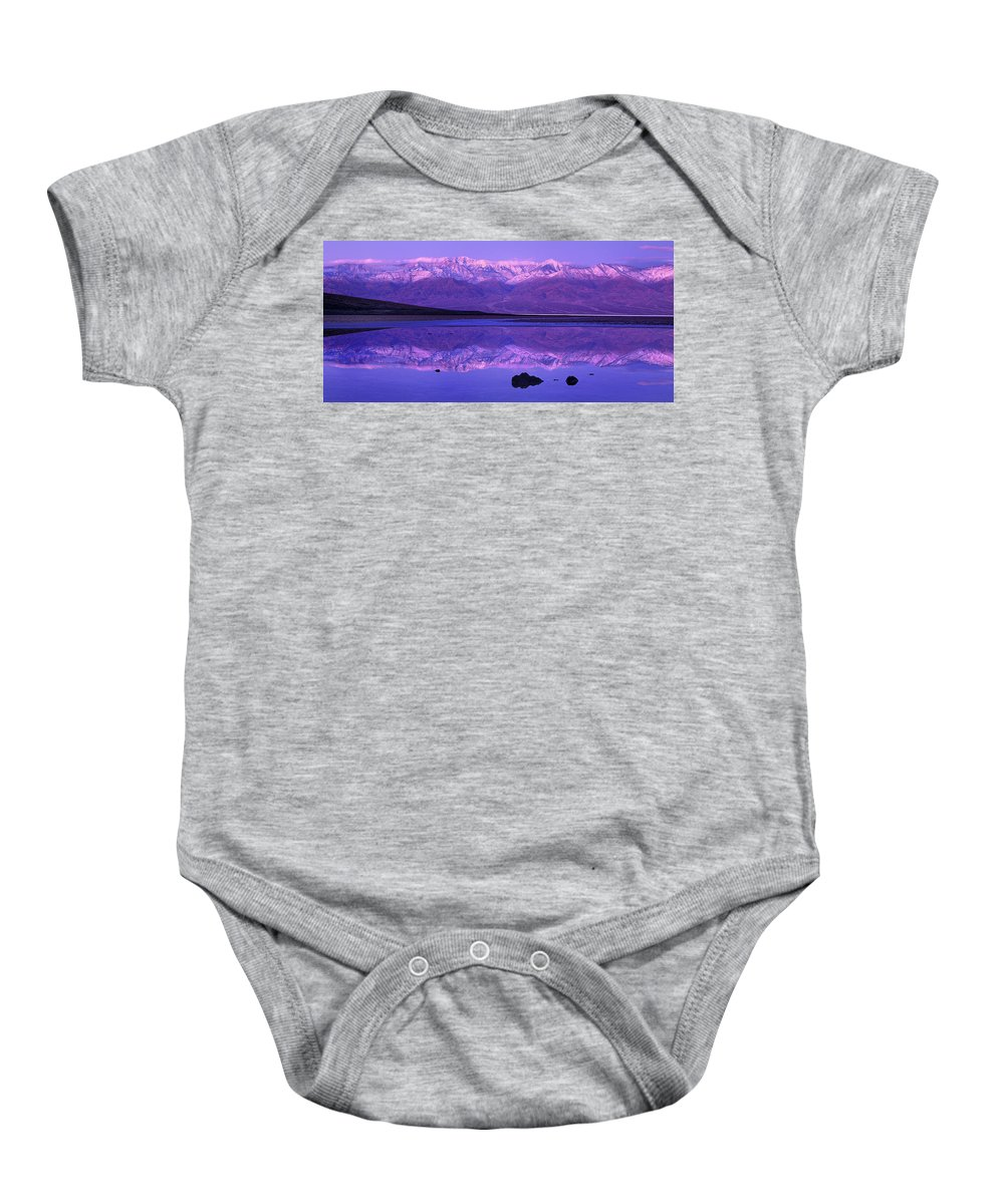 North America Baby Onesie featuring the photograph Panorama Badwater And The Panamint Range At Sunrise Death Valley by Dave Welling