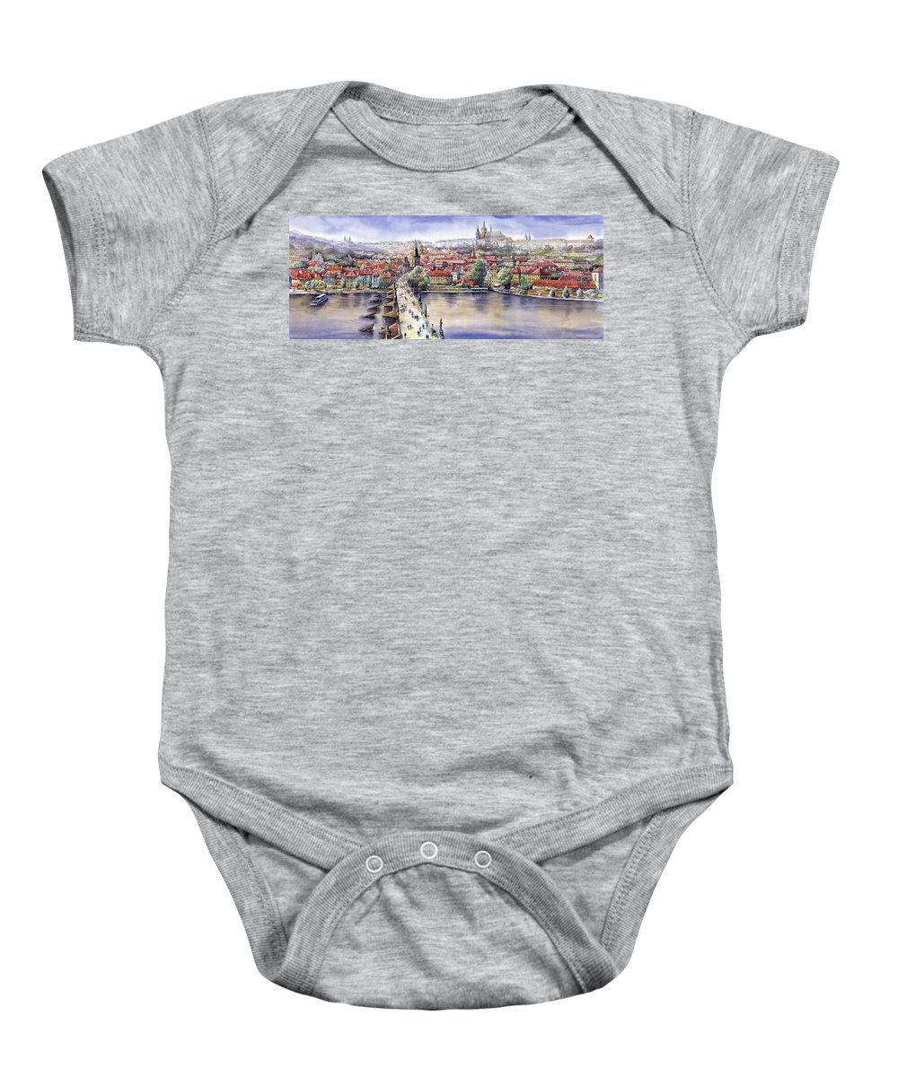 Watercolour Baby Onesie featuring the painting Panorama with Vltava river Charles Bridge and Prague Castle St Vit by Yuriy Shevchuk