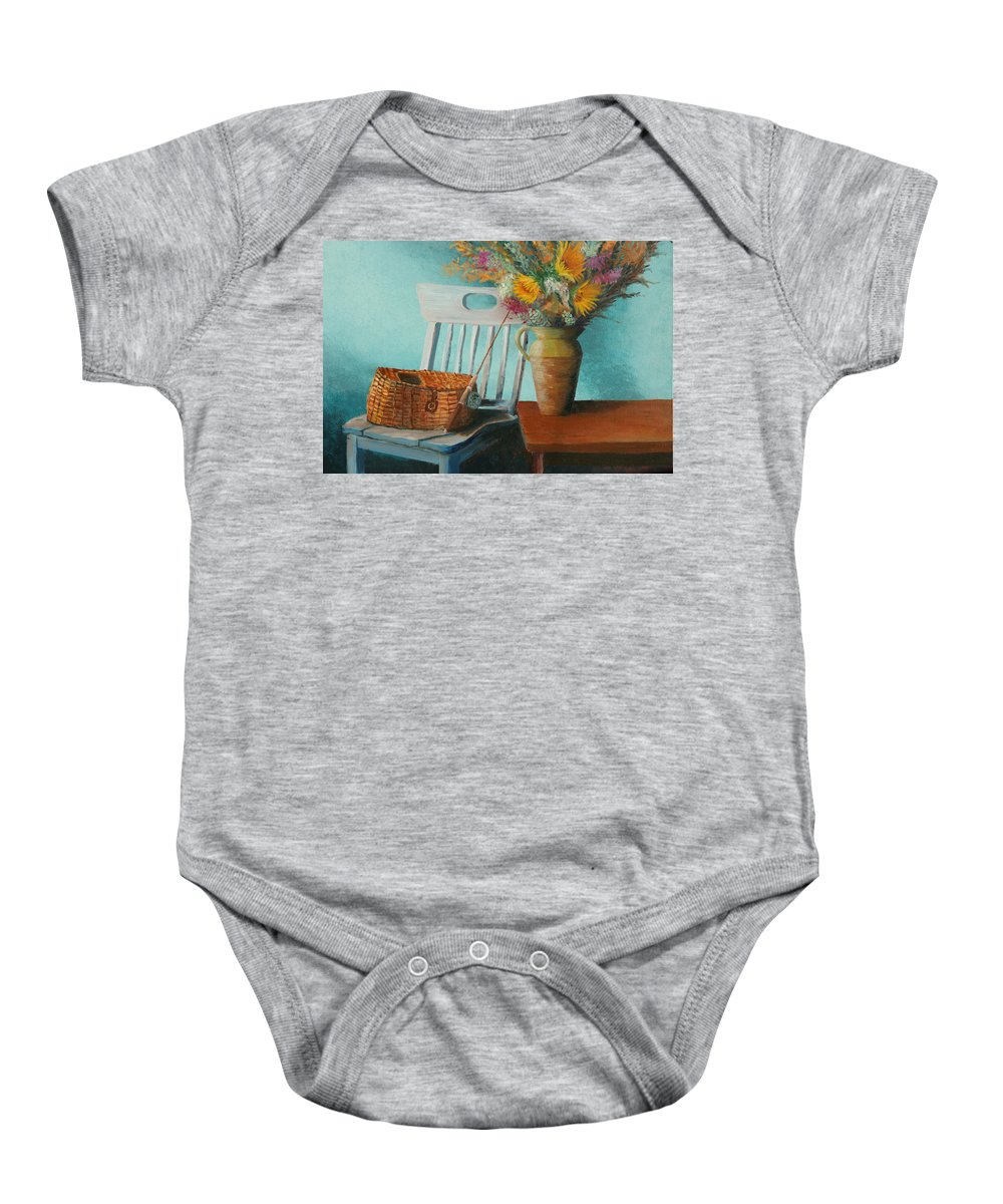 Floral Baby Onesie featuring the painting Papa's Pole by Jerry McElroy