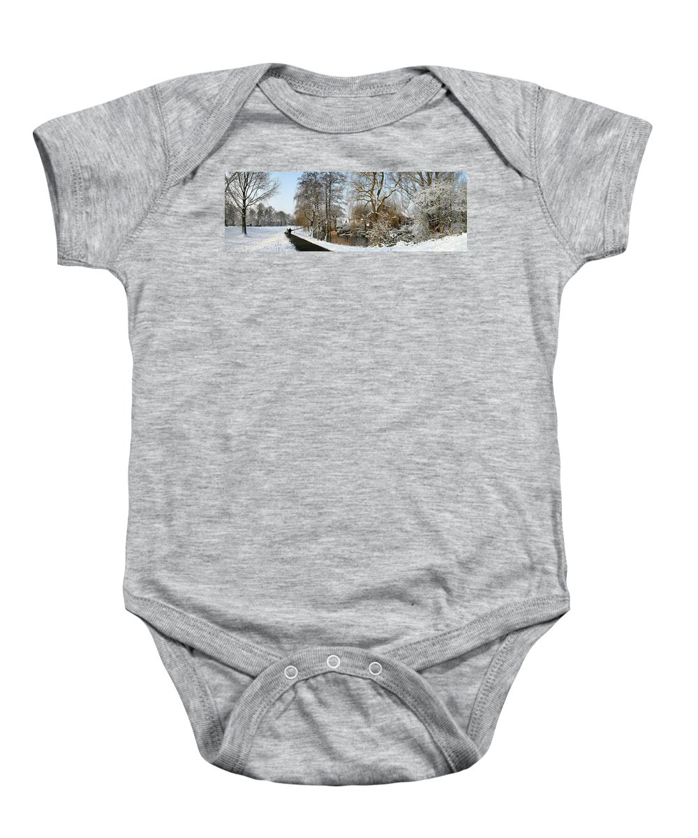 Panorama Baby Onesie featuring the photograph Walk In A Snowy Park by Erin Larcher
