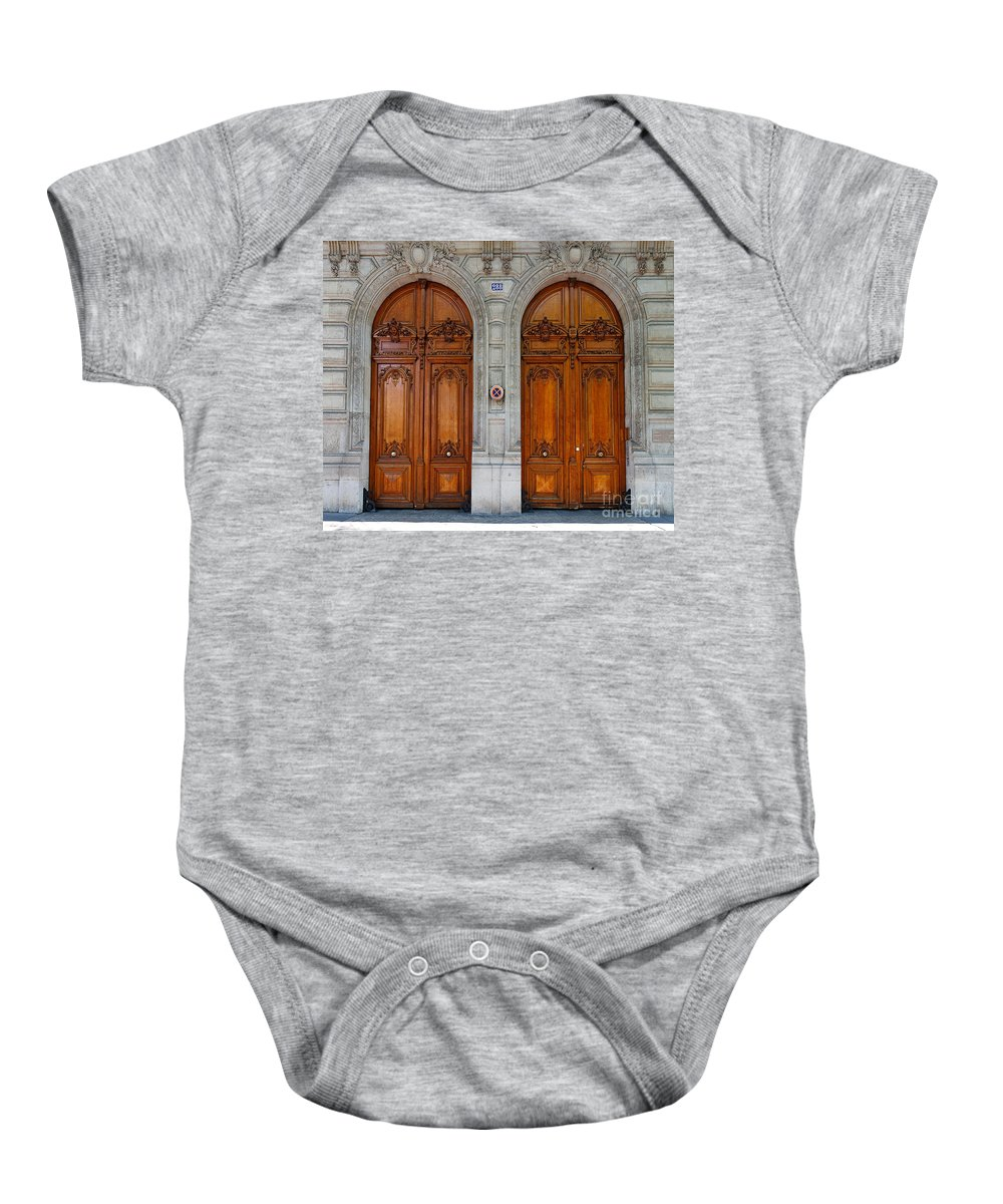 Carved Baby Onesie featuring the photograph Paris Doors by Louise Heusinkveld