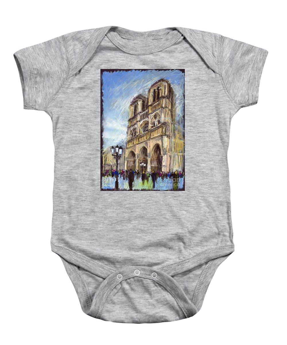 Cityscape Baby Onesie featuring the pastel Paris Notre-dame De Paris by Yuriy Shevchuk