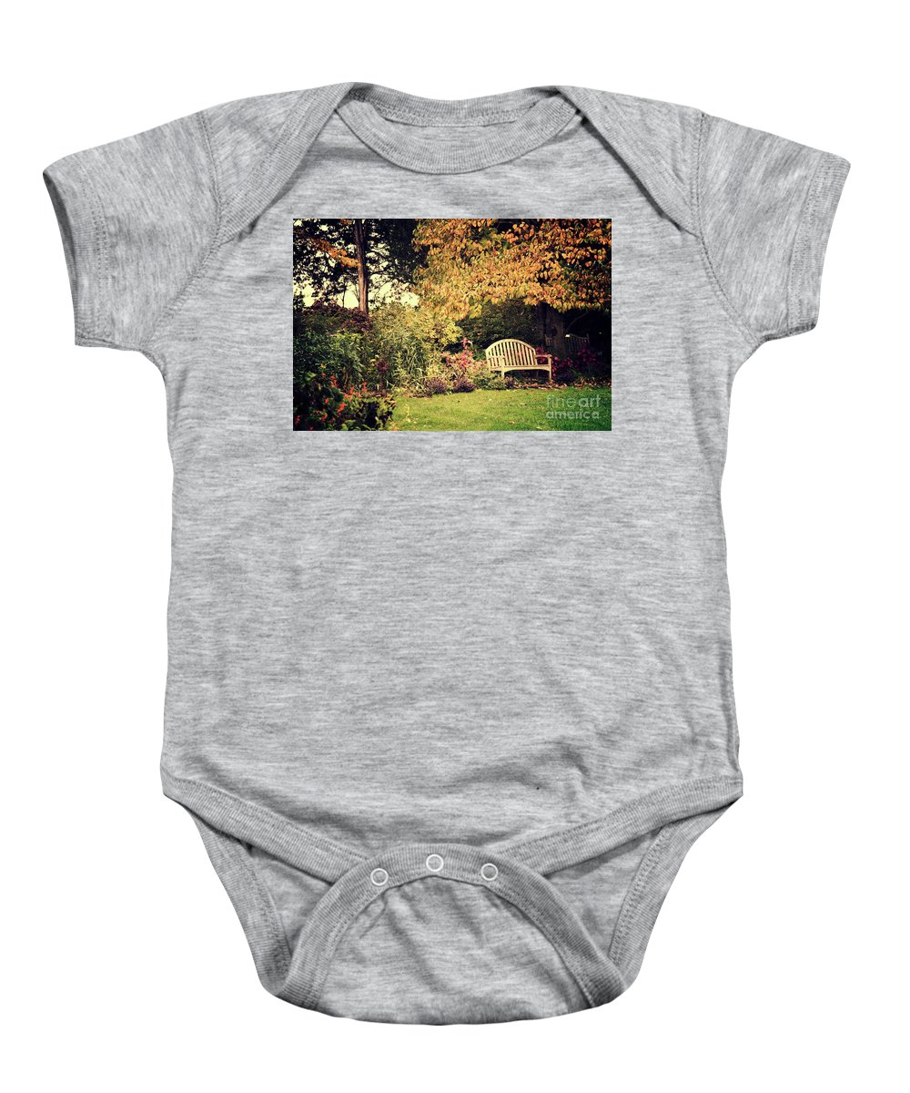 Retro Baby Onesie featuring the photograph Park Bench, Fall by David Nicholson