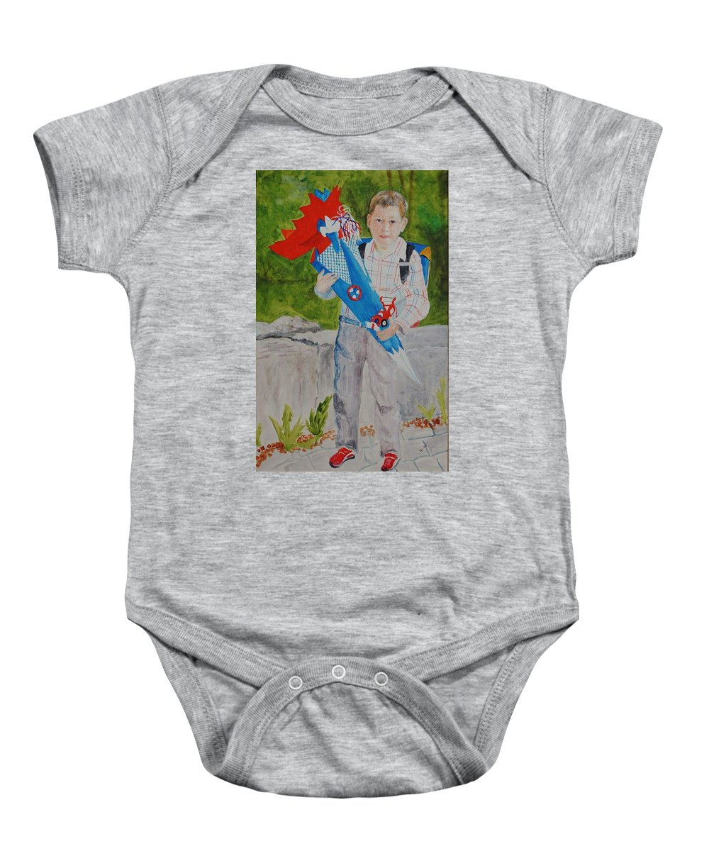 School Baby Onesie featuring the painting Pascals First Day At School 2004 by Helmut Rottler