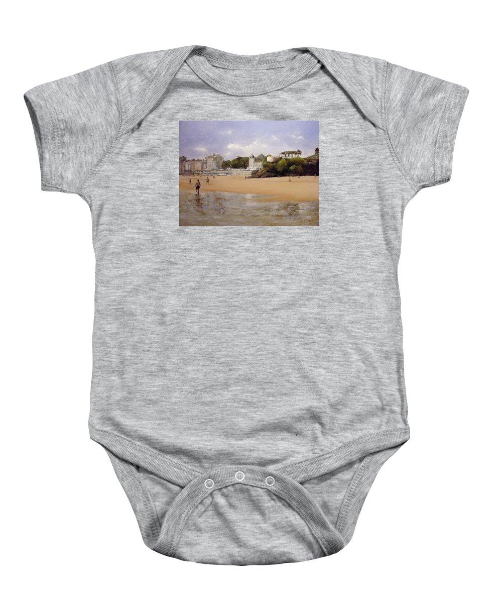 Sardinero Baby Onesie featuring the painting Paseando Por La Playa Del Sardinero by Tomas Castano