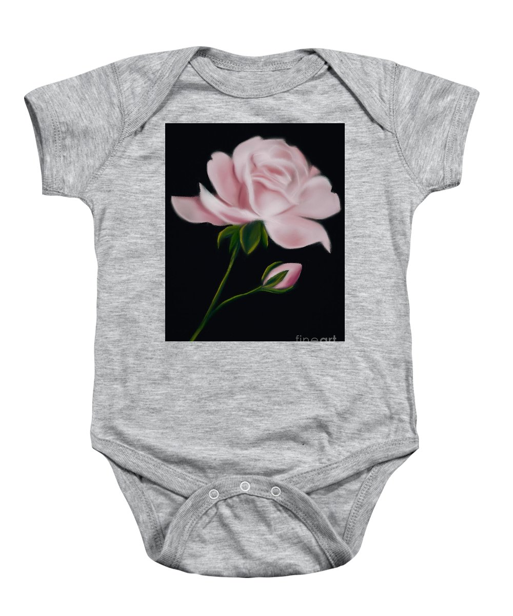 Floral Baby Onesie featuring the digital art Pastel Pink Rose by Michele Koutris
