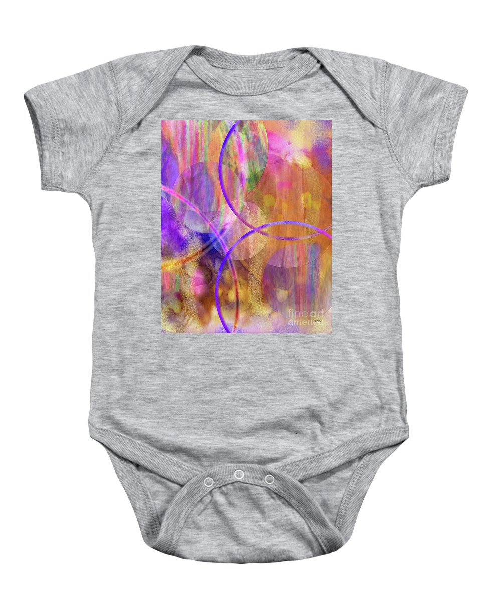 Pastel Planets Baby Onesie featuring the digital art Pastel Planets by John Beck