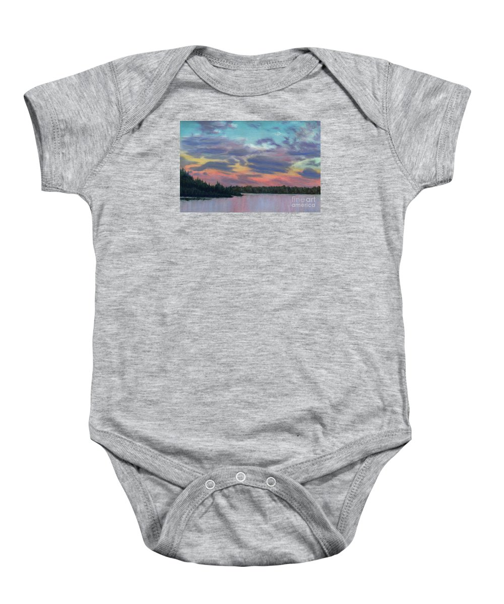 Landscape Baby Onesie featuring the painting Pastel Sunset by Lynn Quinn