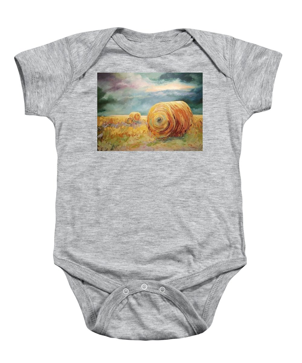 Pasture Landscapes Baby Onesie featuring the painting Pasture Ornament by Ginger Concepcion