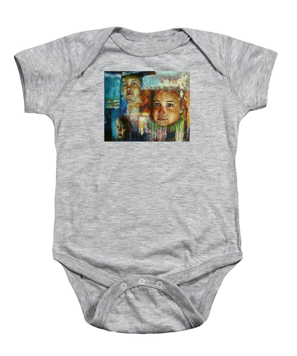 Oil Baby Onesie featuring the painting Paths Of Life by Ioulia Sotiriou