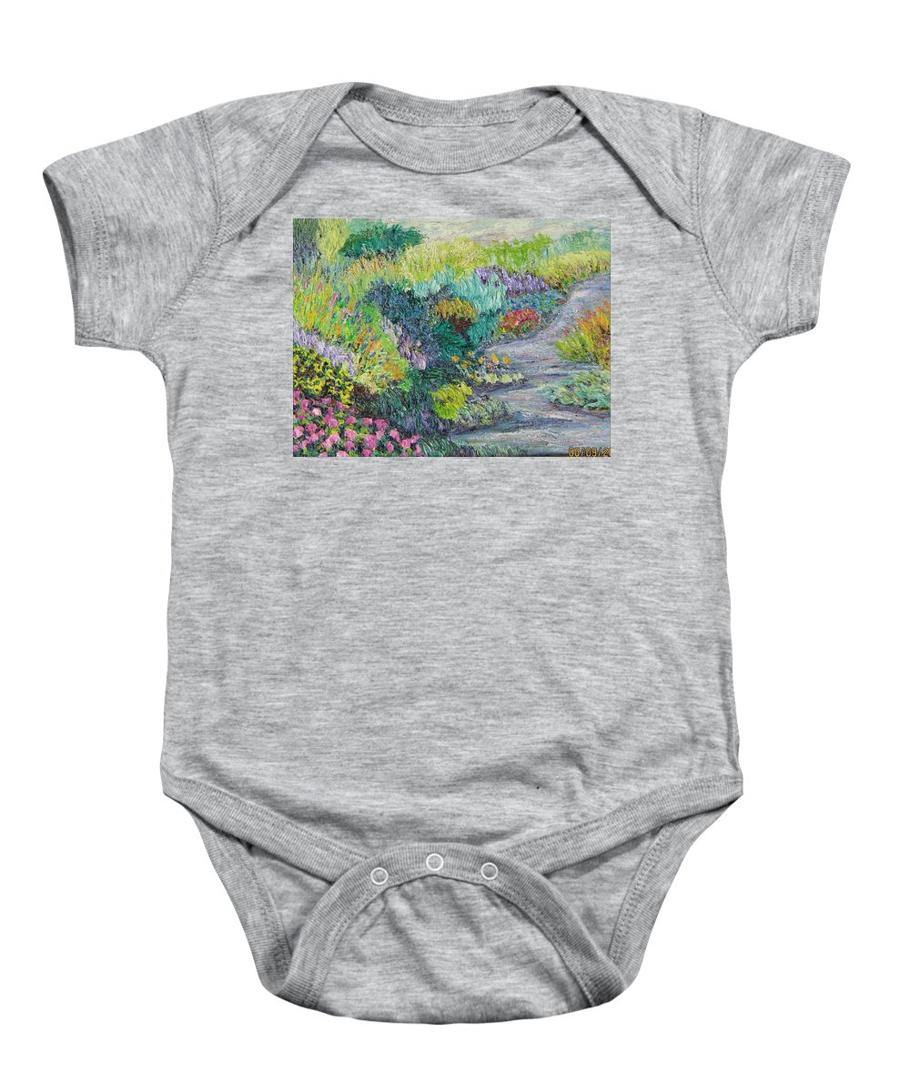 Flowers Baby Onesie featuring the painting Pathway Of Flowers by Richard Nowak