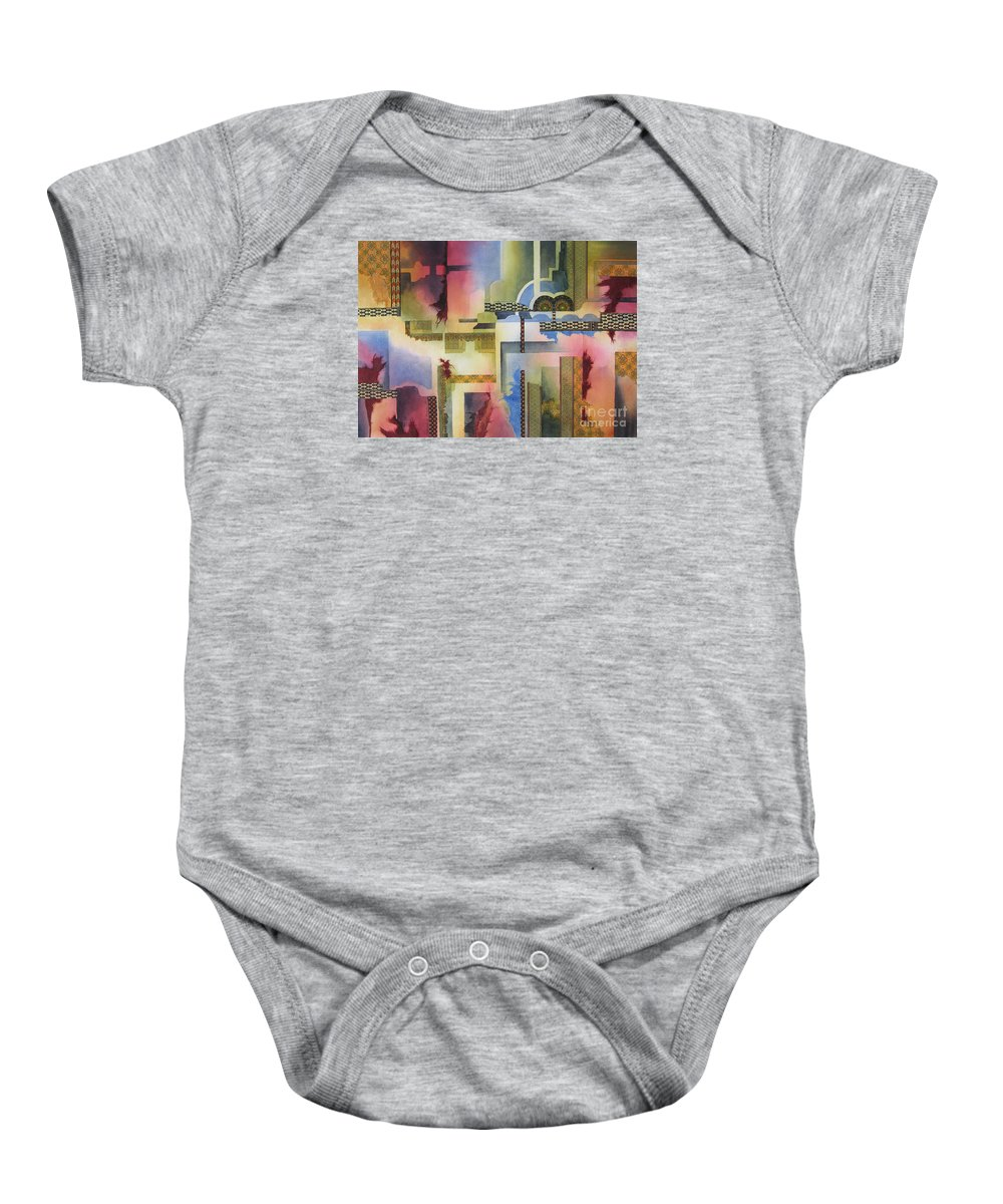 Abstract Baby Onesie featuring the painting Pathways by Deborah Ronglien