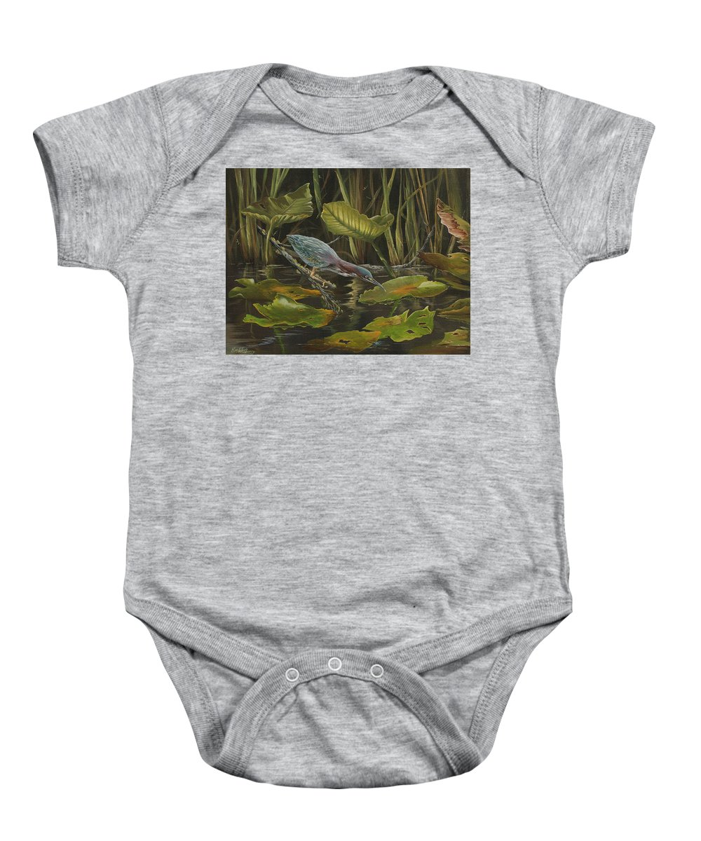 Florida Wildlife Baby Onesie featuring the painting Patience by Kim Westberry
