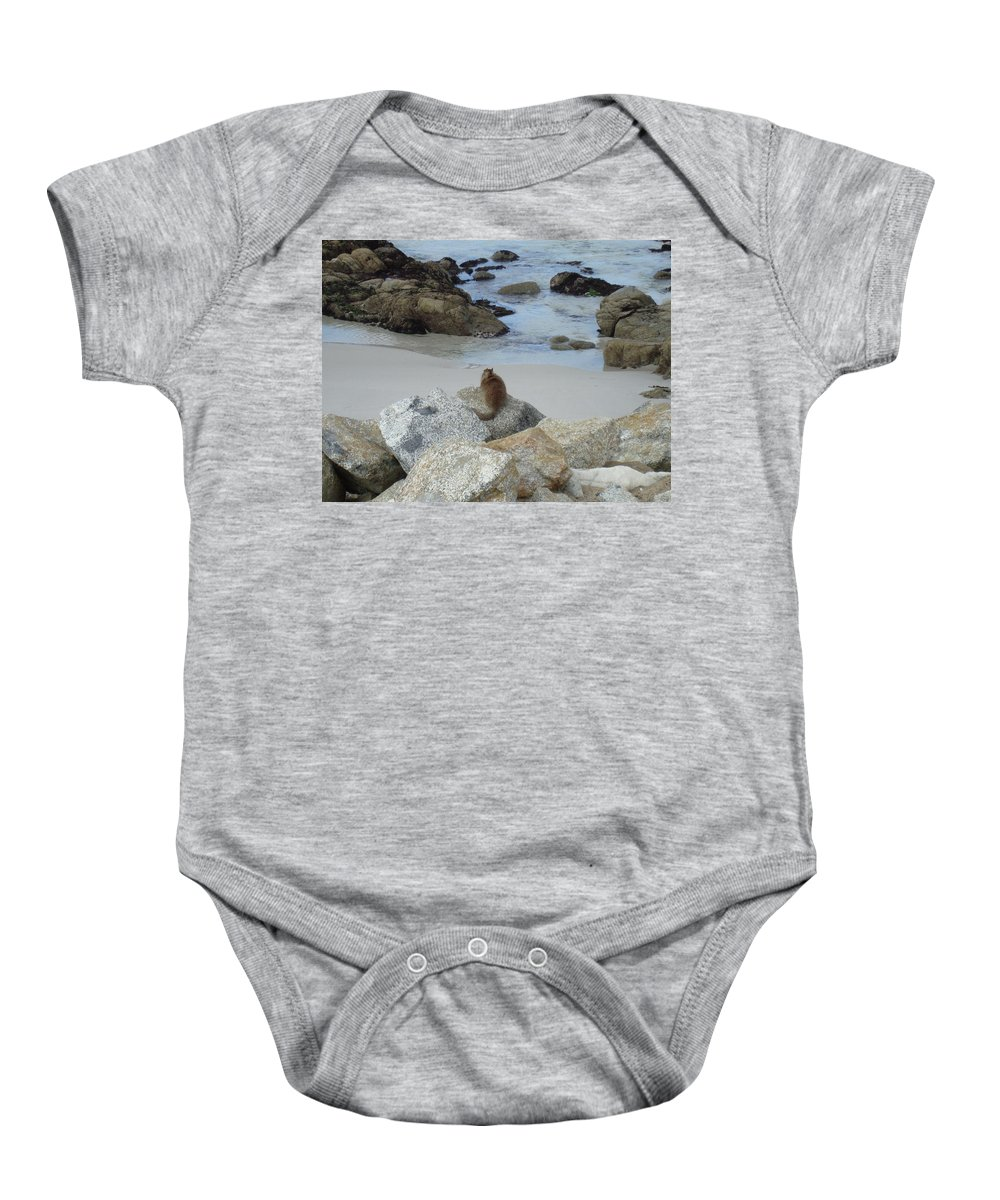 Animal Baby Onesie featuring the photograph Patiently Waiting by Cathi Abbiss Crane