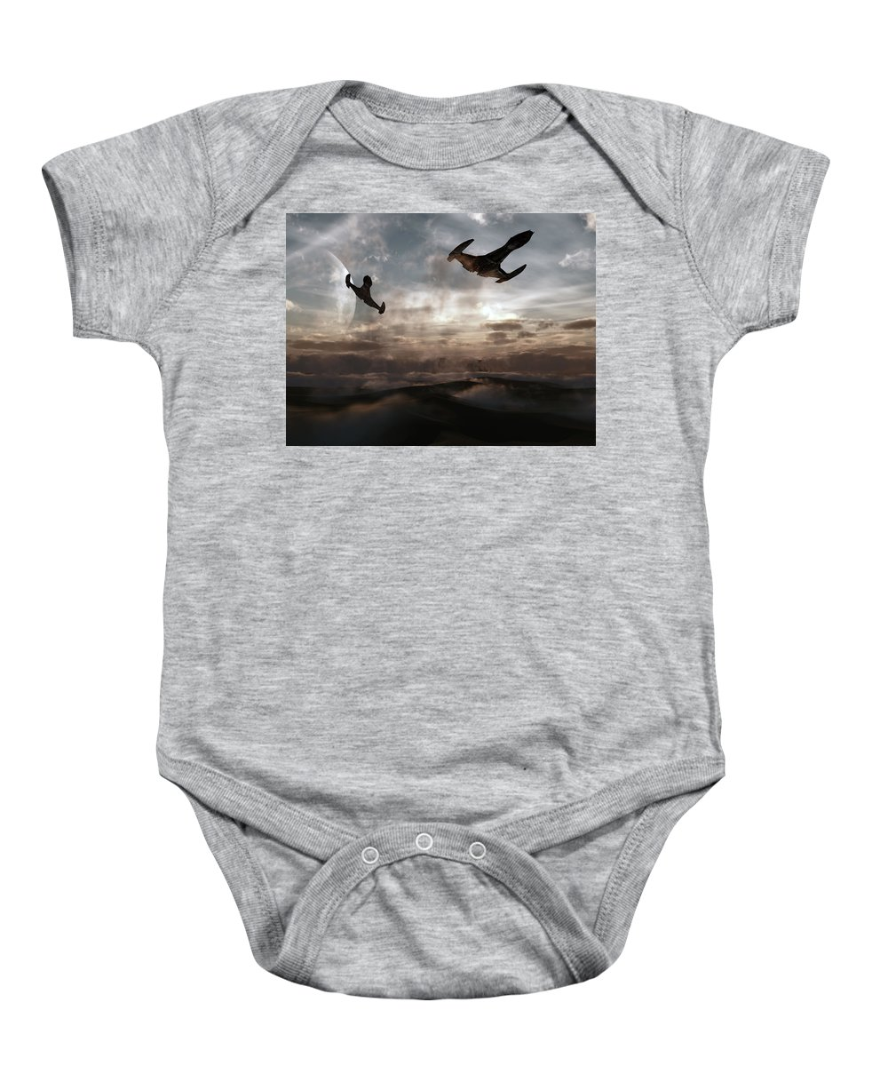 Sci-fi Baby Onesie featuring the digital art Patrol Of Sector 9 by Richard Rizzo