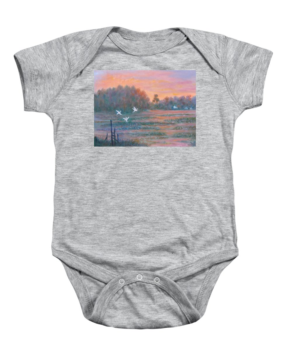 Low Country; Egrets; Sunset Baby Onesie featuring the painting Pawleys Island by Ben Kiger