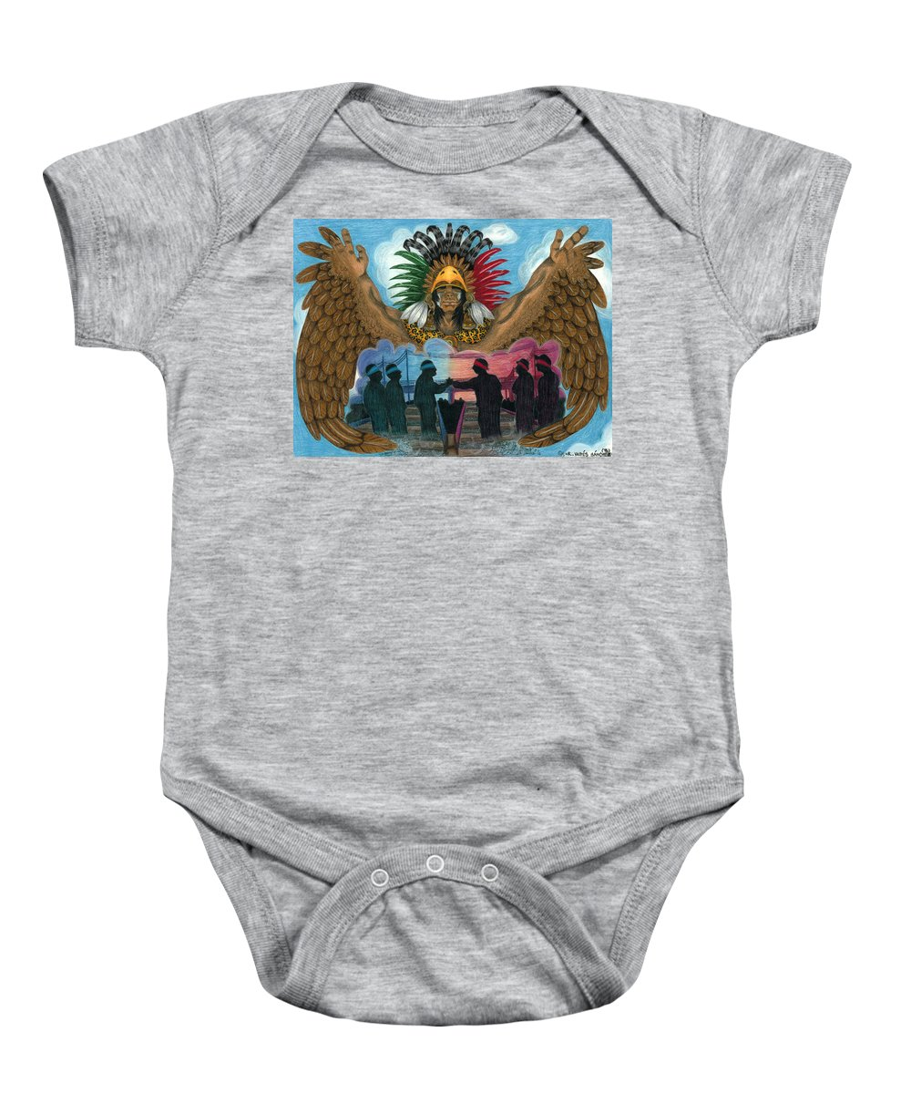 Mexican Baby Onesie featuring the drawing Paz by Roberto Valdes Sanchez