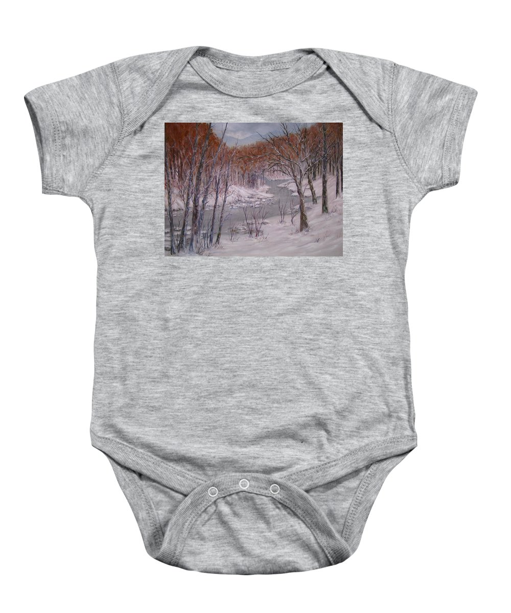 Peace Project Baby Onesie featuring the painting Peace And Quiet by Ben Kiger
