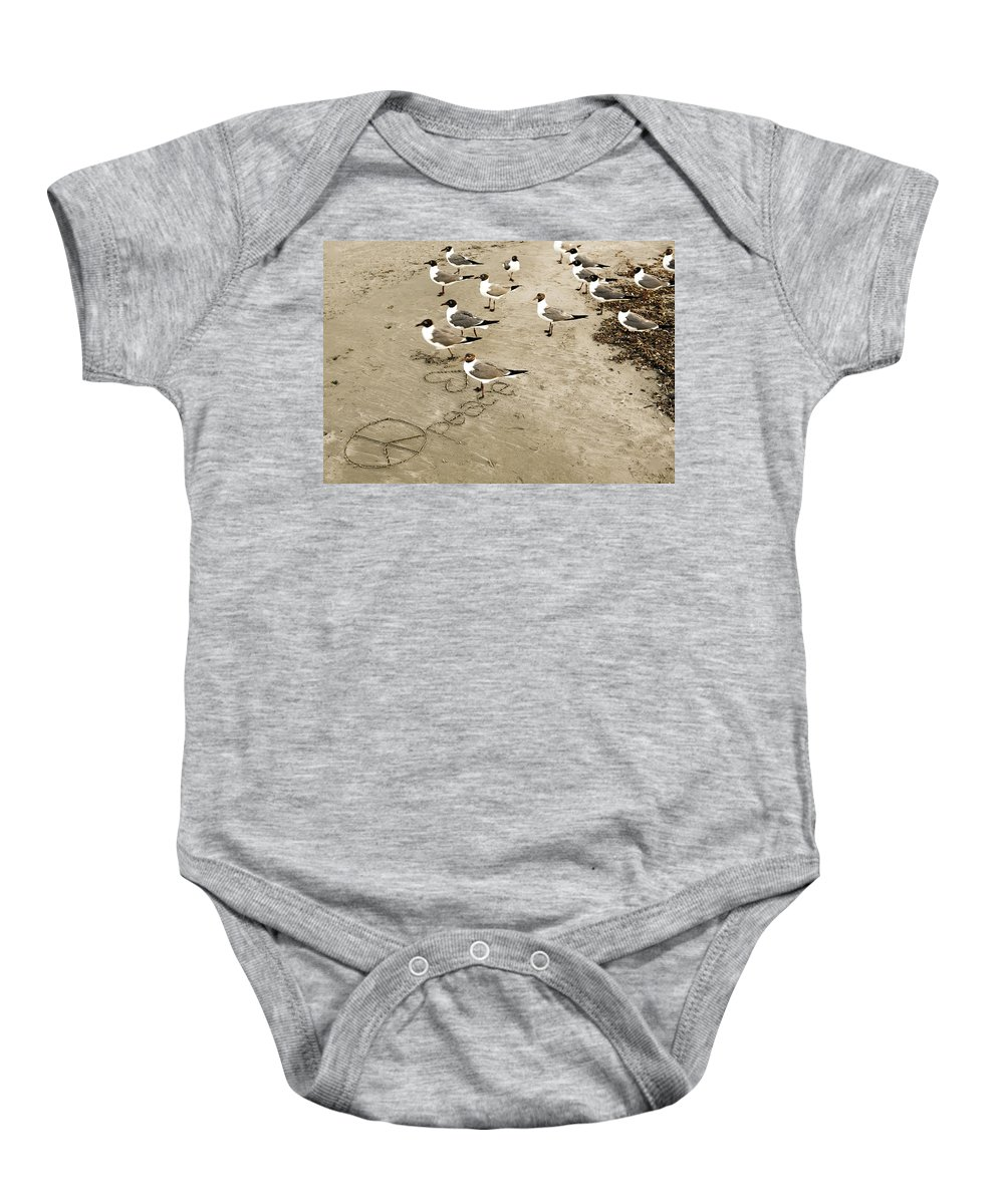 Americana Baby Onesie featuring the photograph Peace On The Beach by Marilyn Hunt