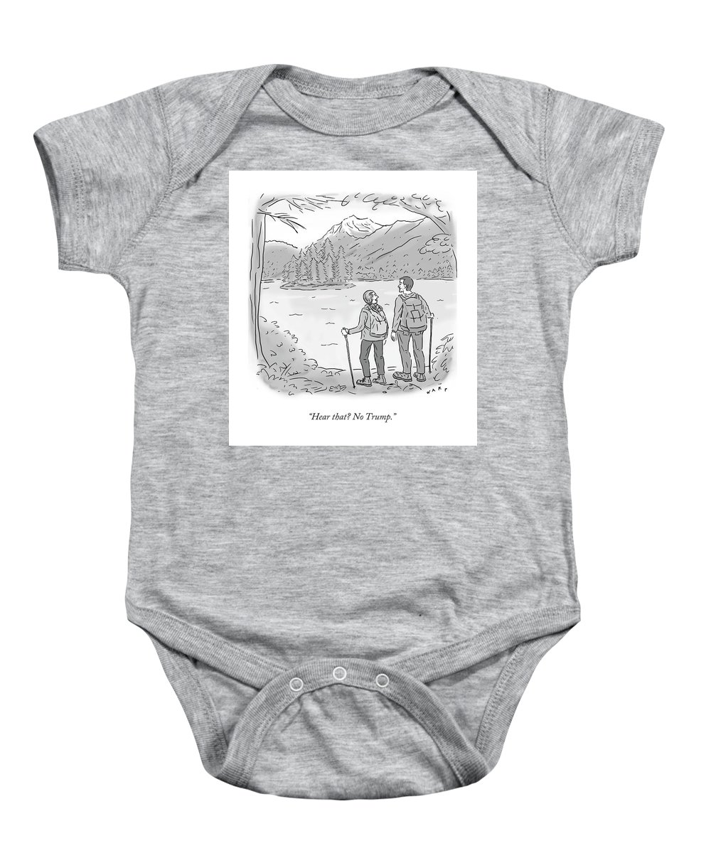 28321294914fe Hiking Baby Onesie featuring the drawing Peaceful Hikers by Kim Warp