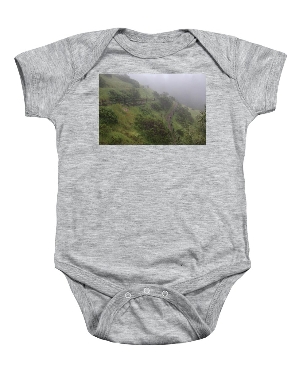 Green Fog California Trail Fence Baby Onesie featuring the photograph Peaceful Trail by Colby Foster