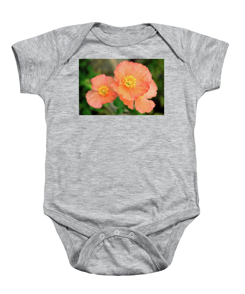 Peach Poppies Baby Onesie featuring the photograph Peach Poppies by Sally Weigand
