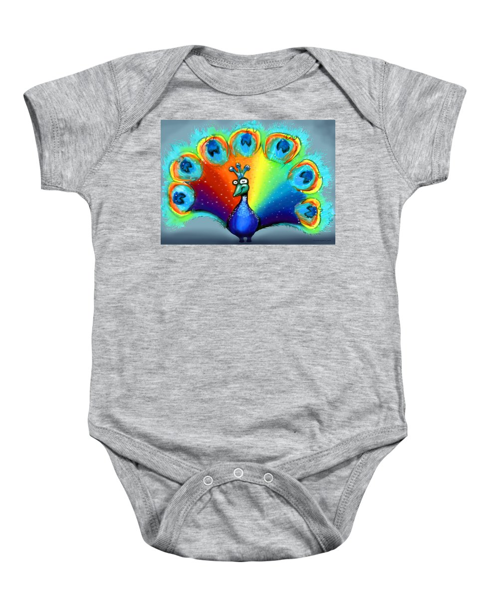 Color Baby Onesie featuring the painting Peacock by Kevin Middleton
