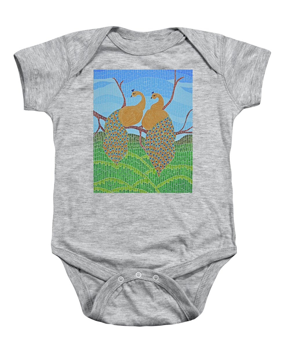 Art Baby Onesie featuring the painting Peacock Love by Laxmi Khire