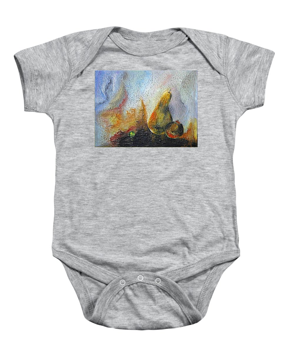 Mixed Media Baby Onesie featuring the mixed media Pear And Pearl by Dragica Micki Fortuna