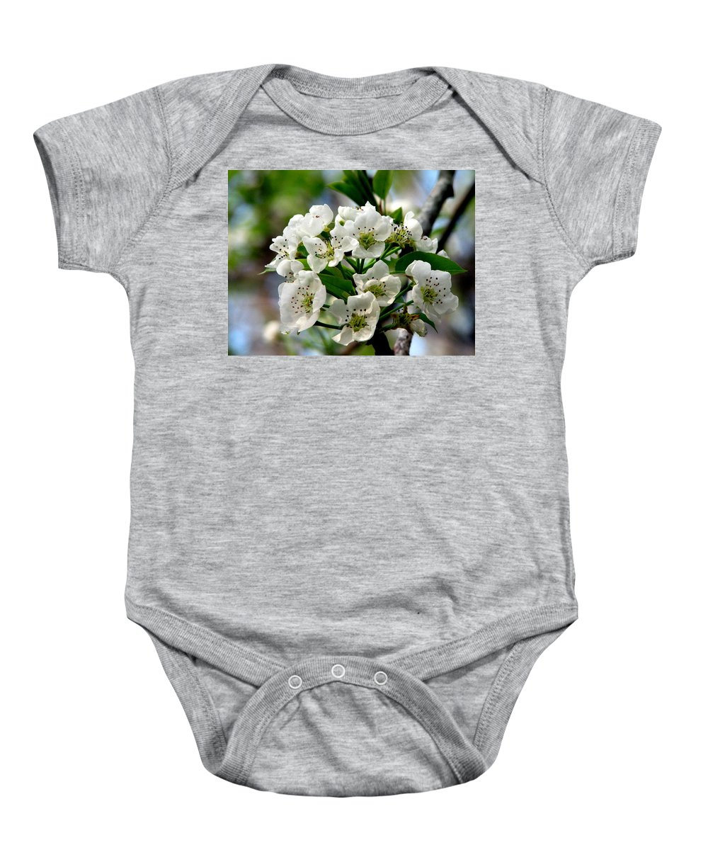 Pear Tree Blossum Baby Onesie featuring the photograph Pear Tree Blossoms 1 by J M Farris Photography