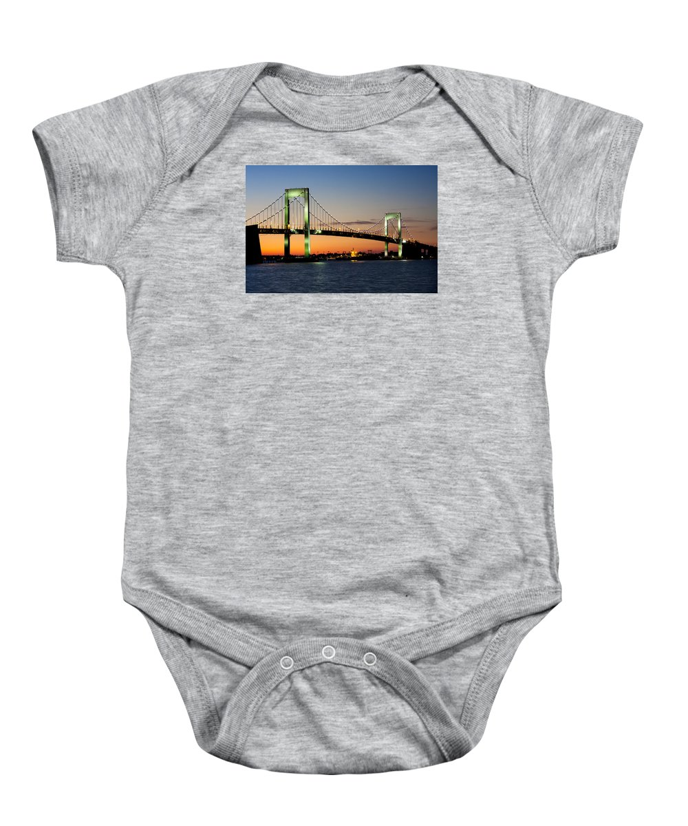 Bridge Baby Onesie featuring the photograph Pearls In The Sky by Claudius Cazan
