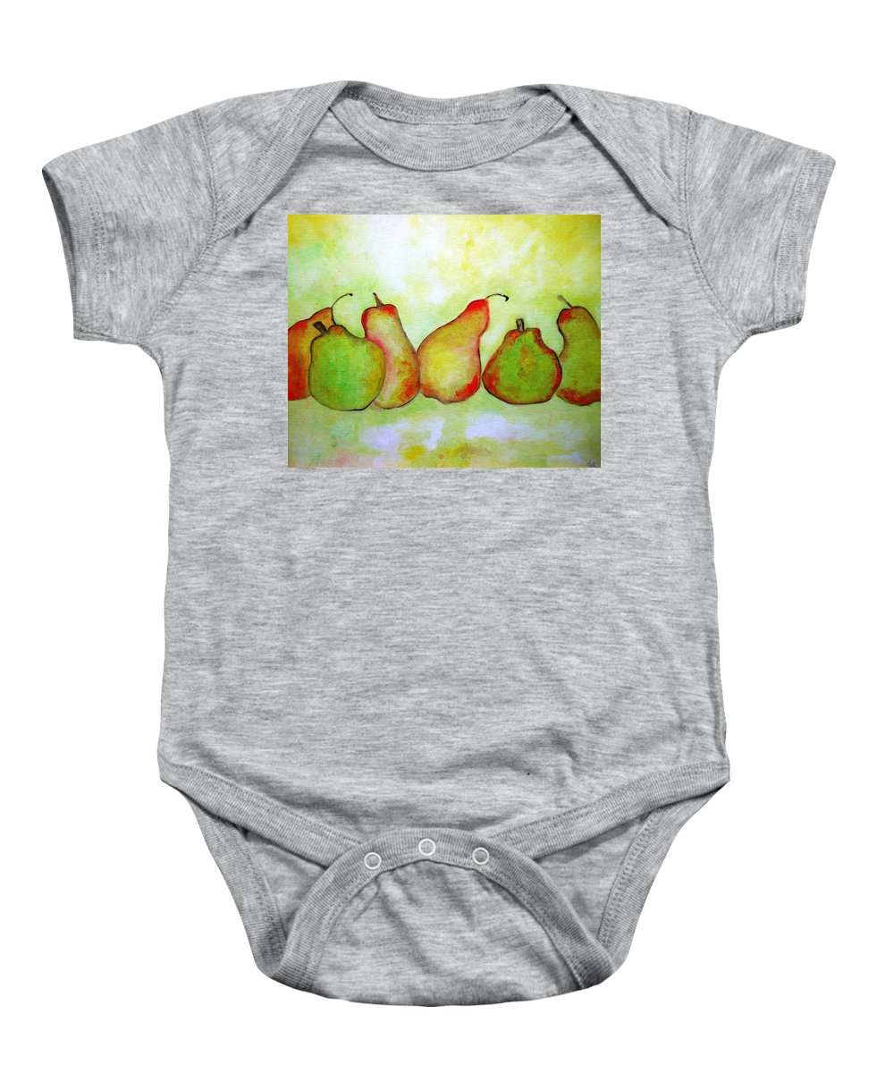 Truck Baby Onesie featuring the painting Pears - 2016 by Lord Frederick Lyle Morris - Disabled Veteran