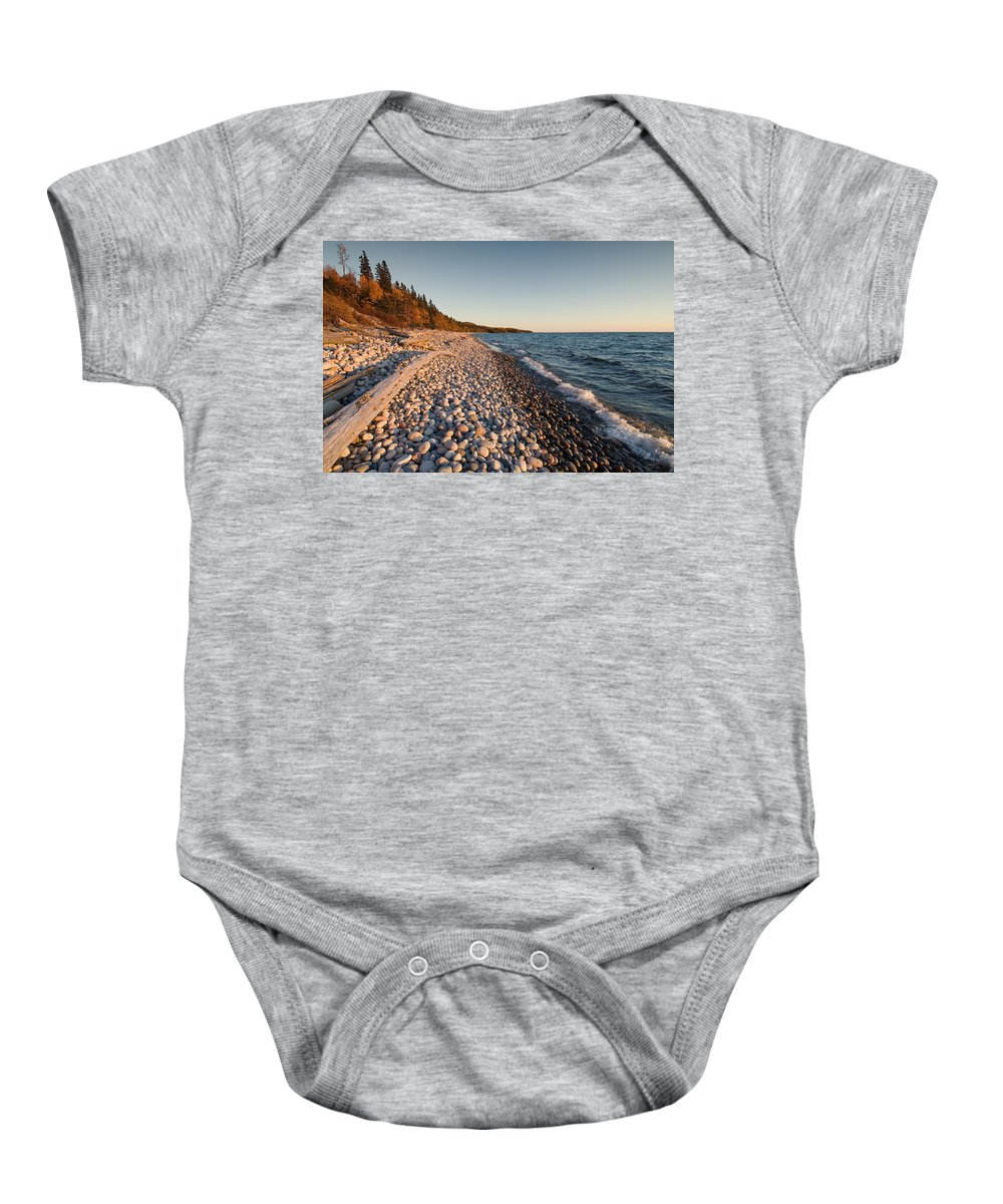 Lake Superior Baby Onesie featuring the photograph Pebble Beach Autumn  by Doug Gibbons