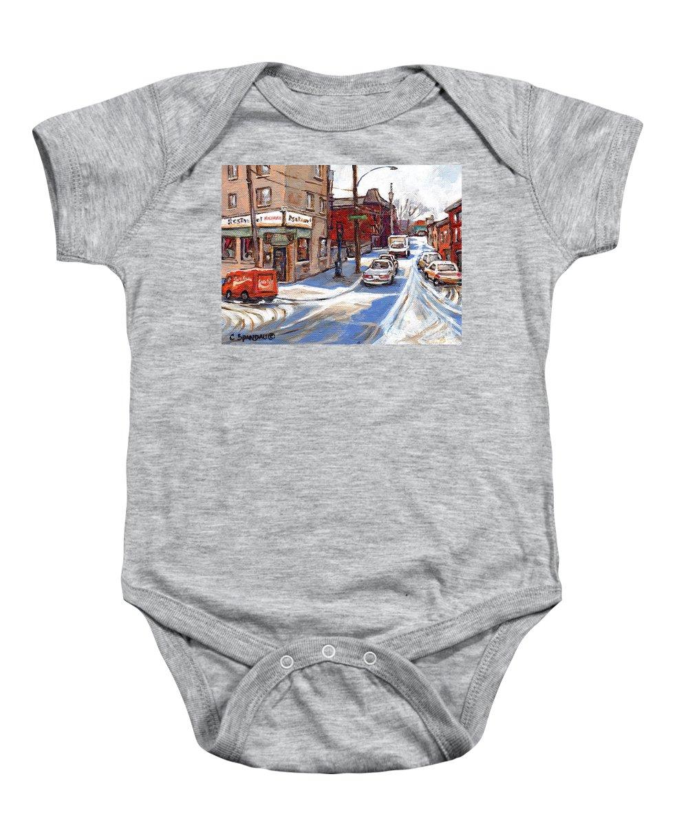 Pointe St.charles Baby Onesie featuring the painting Peintures De Montreal Paintings Petits Formats A Vendre Restaurant Machiavelli Best Original Art  by Carole Spandau