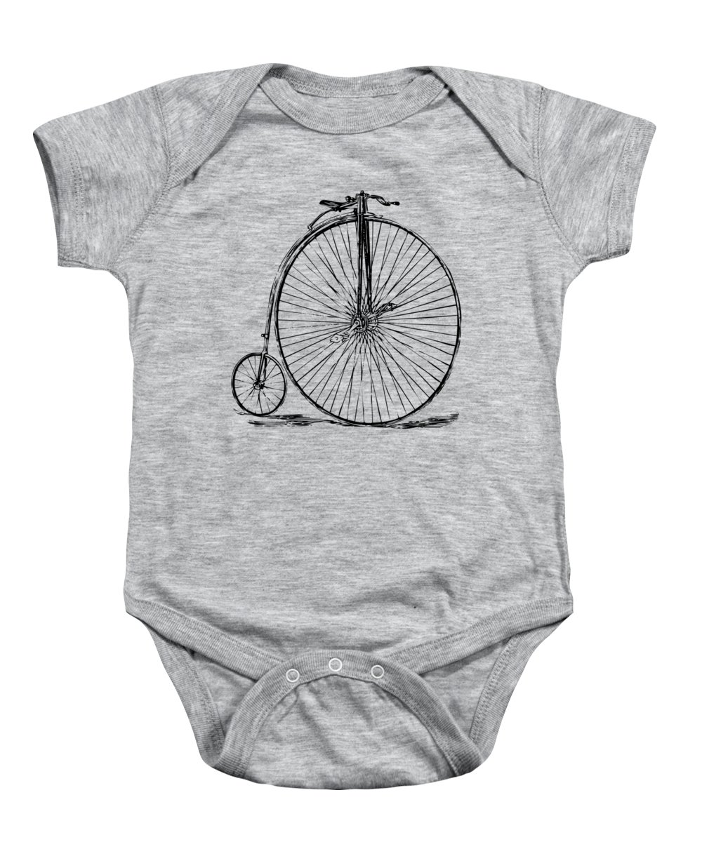 Penny-farthing Baby Onesie featuring the digital art Penny-Farthing 1867 High Wheeler Bicycle Vintage by Nikki Marie Smith