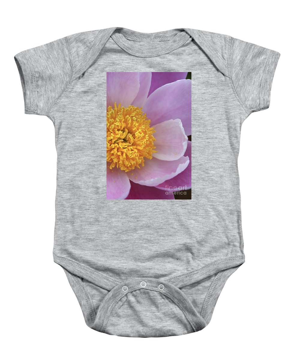 Flower Baby Onesie featuring the photograph Peonie Yellow Center by Deborah Benoit