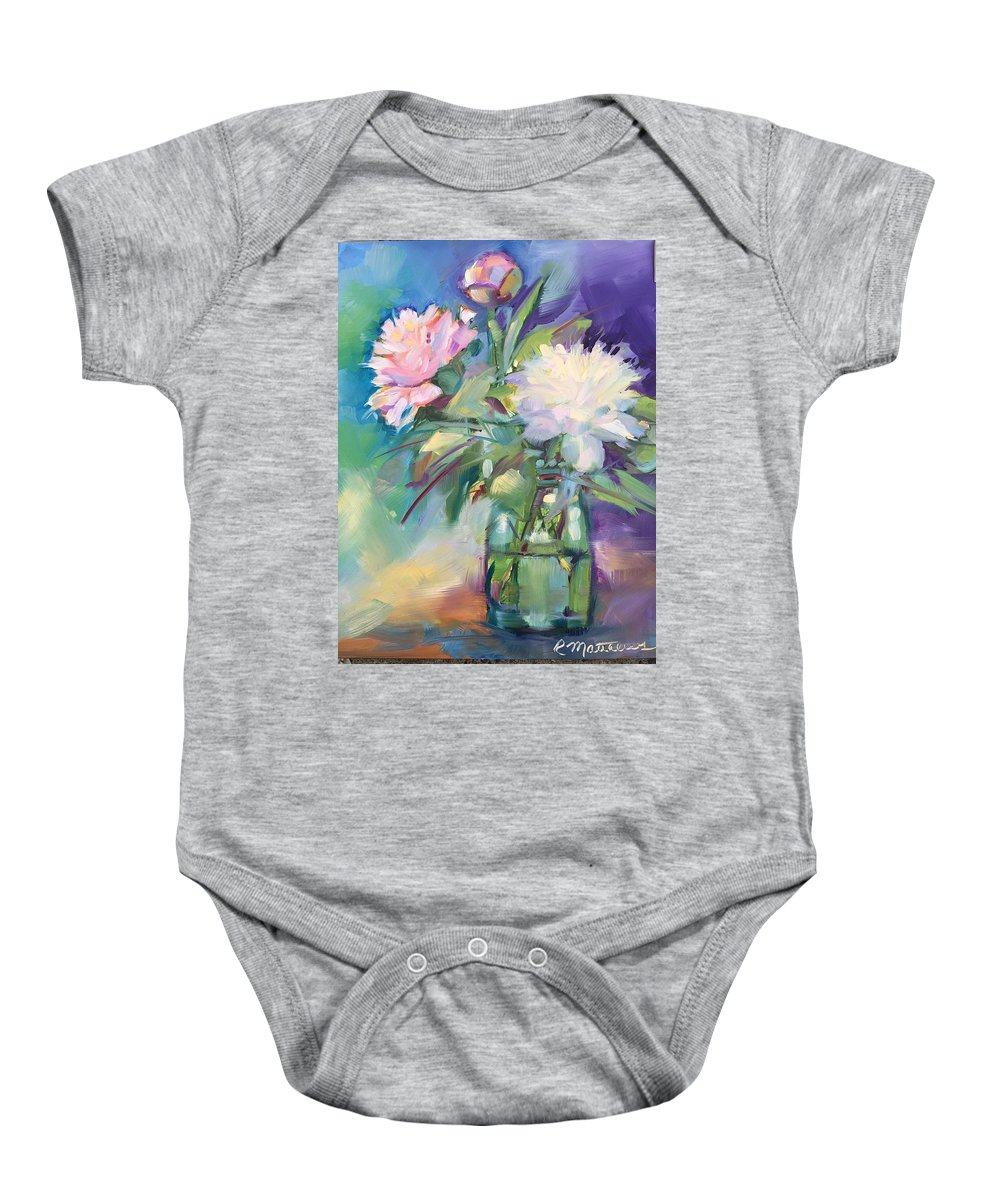 Peonies Baby Onesie featuring the painting Peonies In Jar by Rebecca Matthews