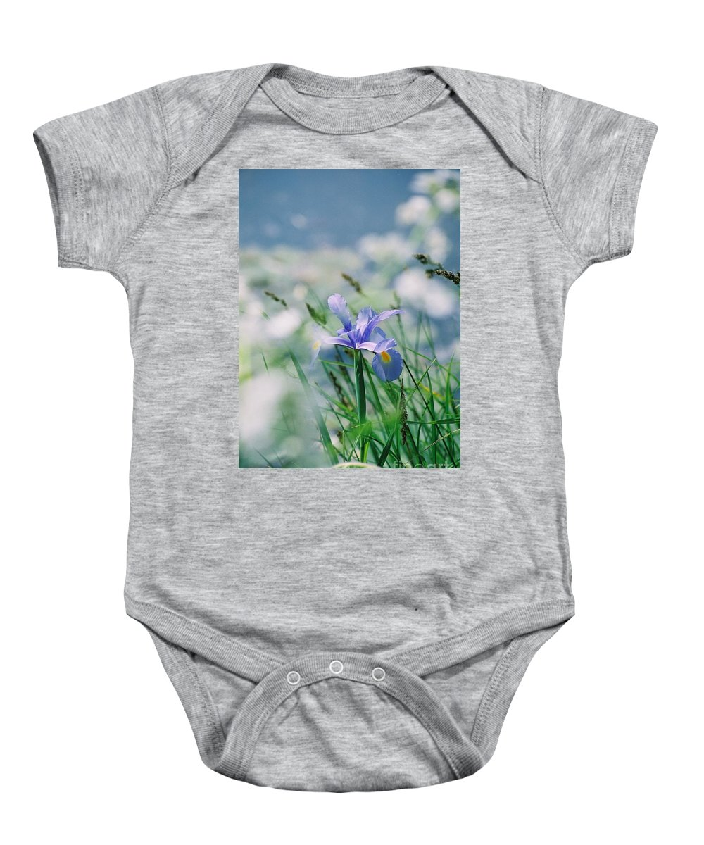 Periwinkle Baby Onesie featuring the photograph Periwinkle Iris by Nadine Rippelmeyer