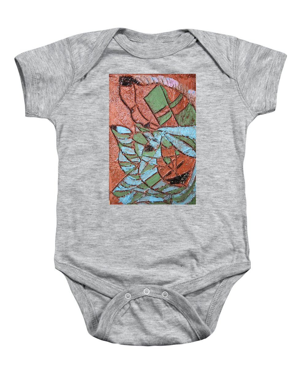 Gloria Ssali Baby Onesie featuring the painting Perusal Tile by Gloria Ssali