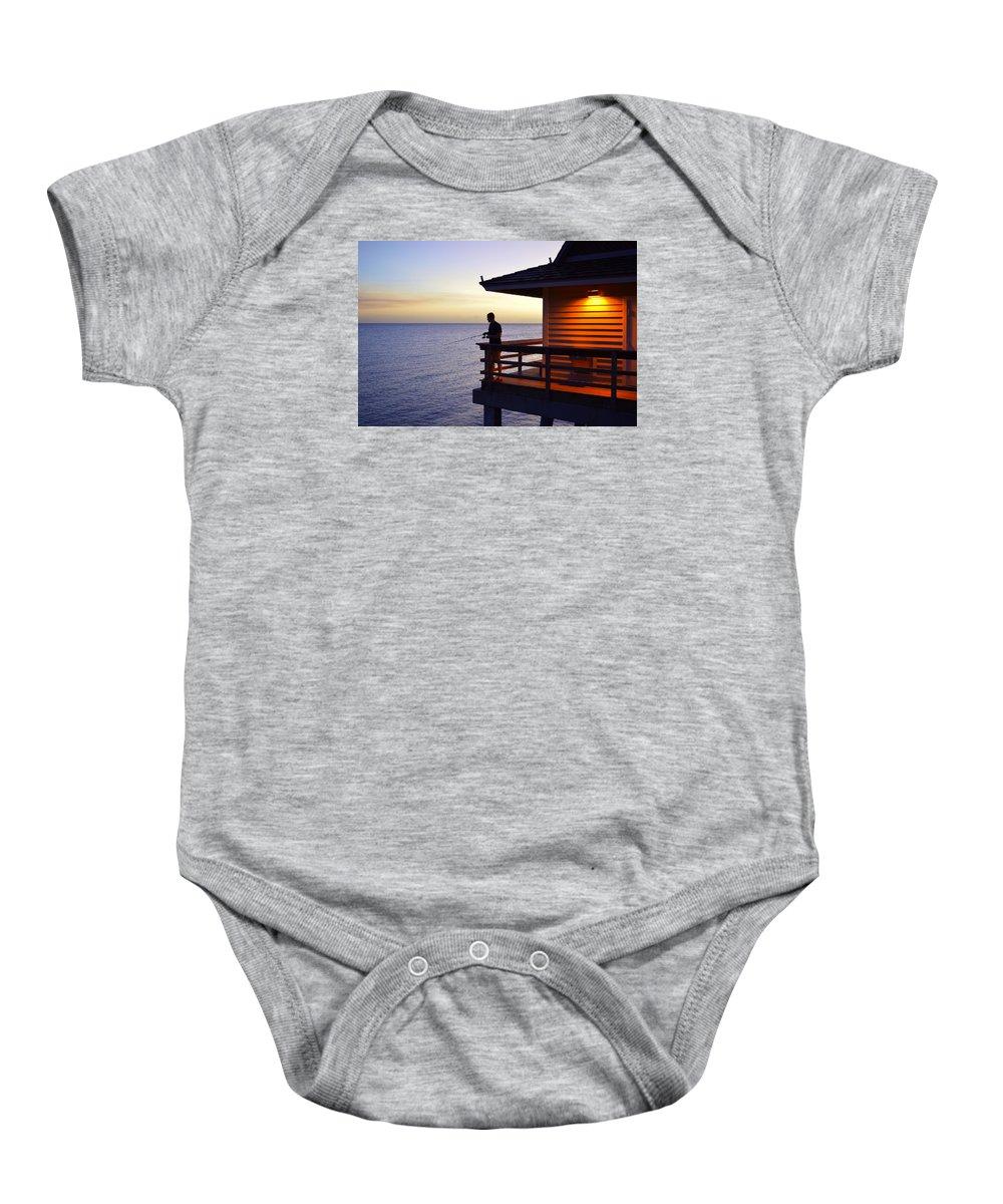 Naturaleza Baby Onesie featuring the photograph Fishing At Naples Pier by Lenin Caraballo