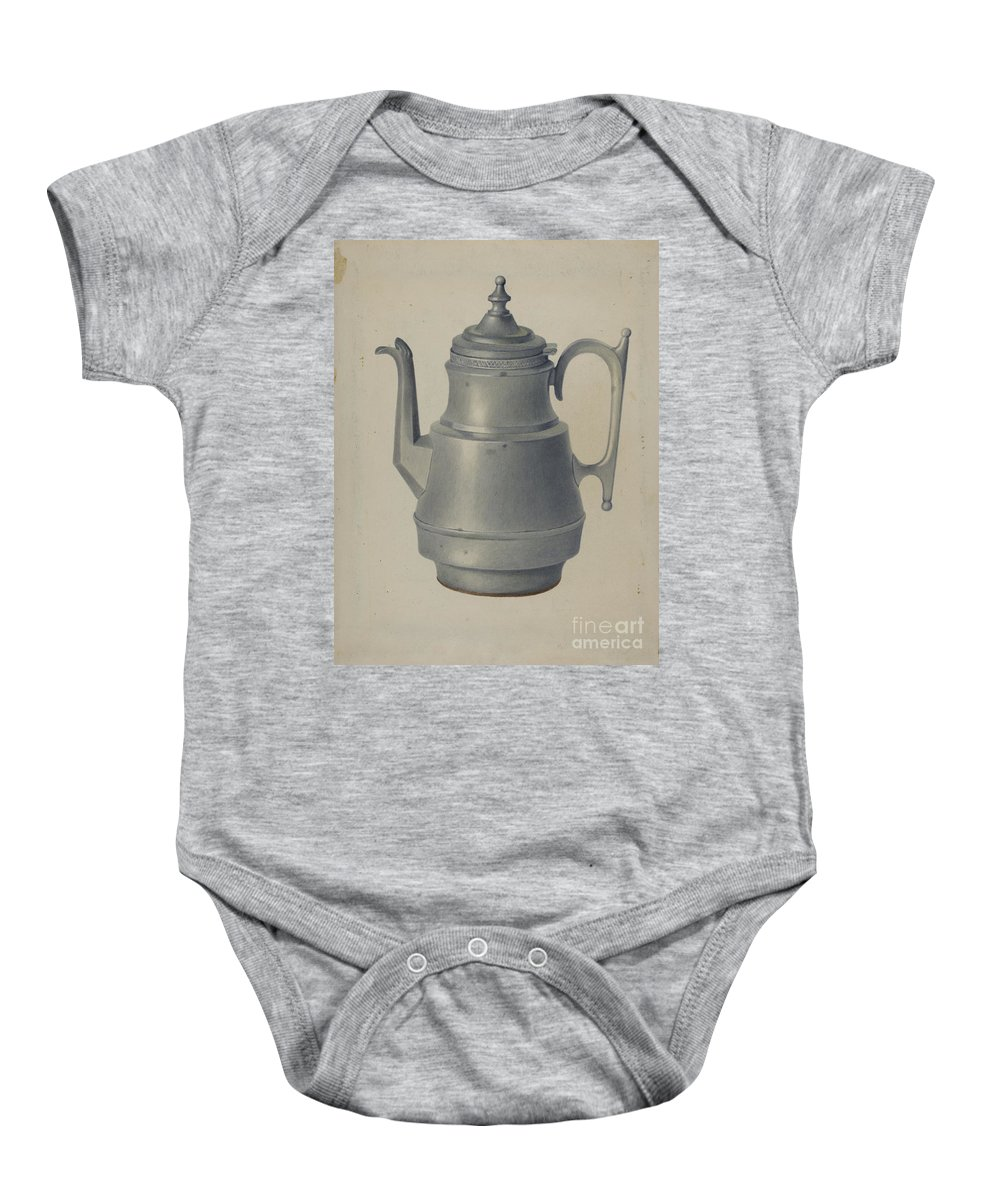 Baby Onesie featuring the drawing Pewter Teapot by Arthur G. Merkley