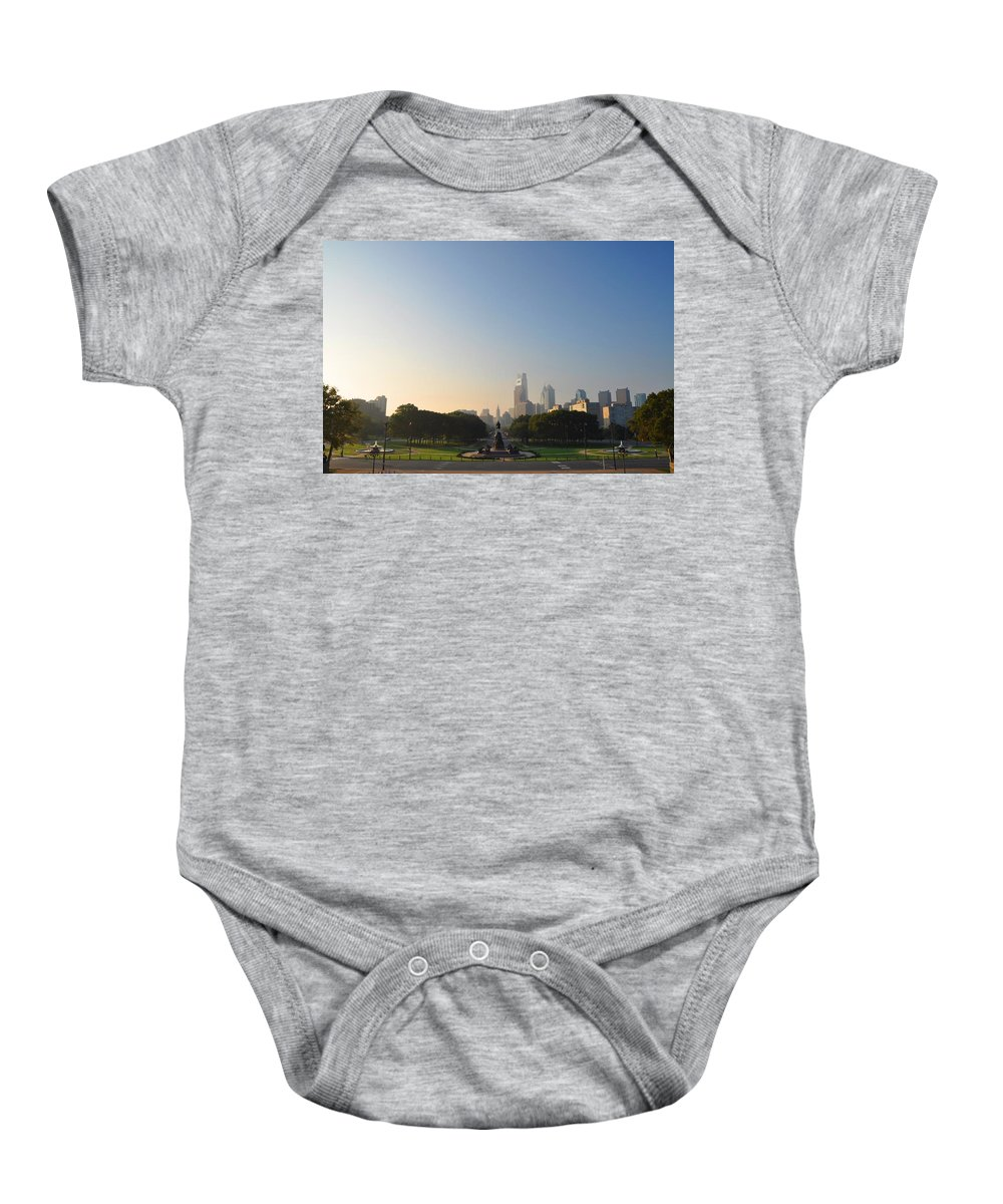 Eakins Oval Baby Onesie featuring the photograph Philadelphia Across Eakins Oval by Bill Cannon