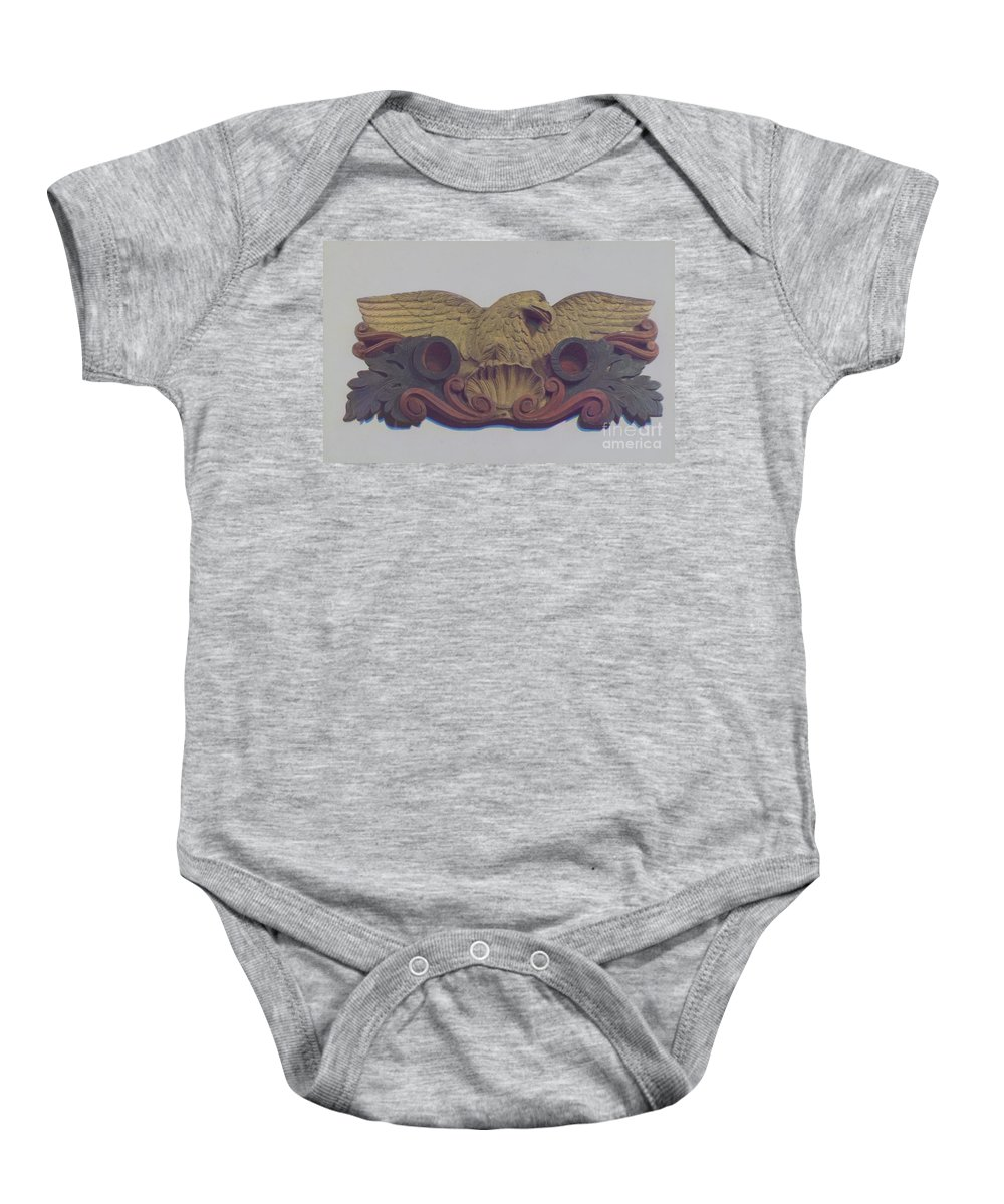 Baby Onesie featuring the drawing Philadelphia Fire Dept. Emblem by Robert Longacre