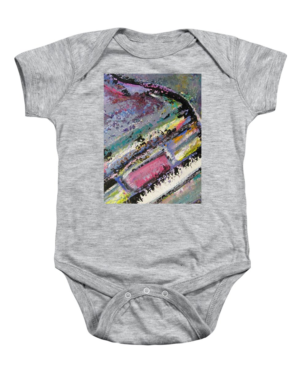 Piano Baby Onesie featuring the painting Piano Close Up 2 by Anita Burgermeister