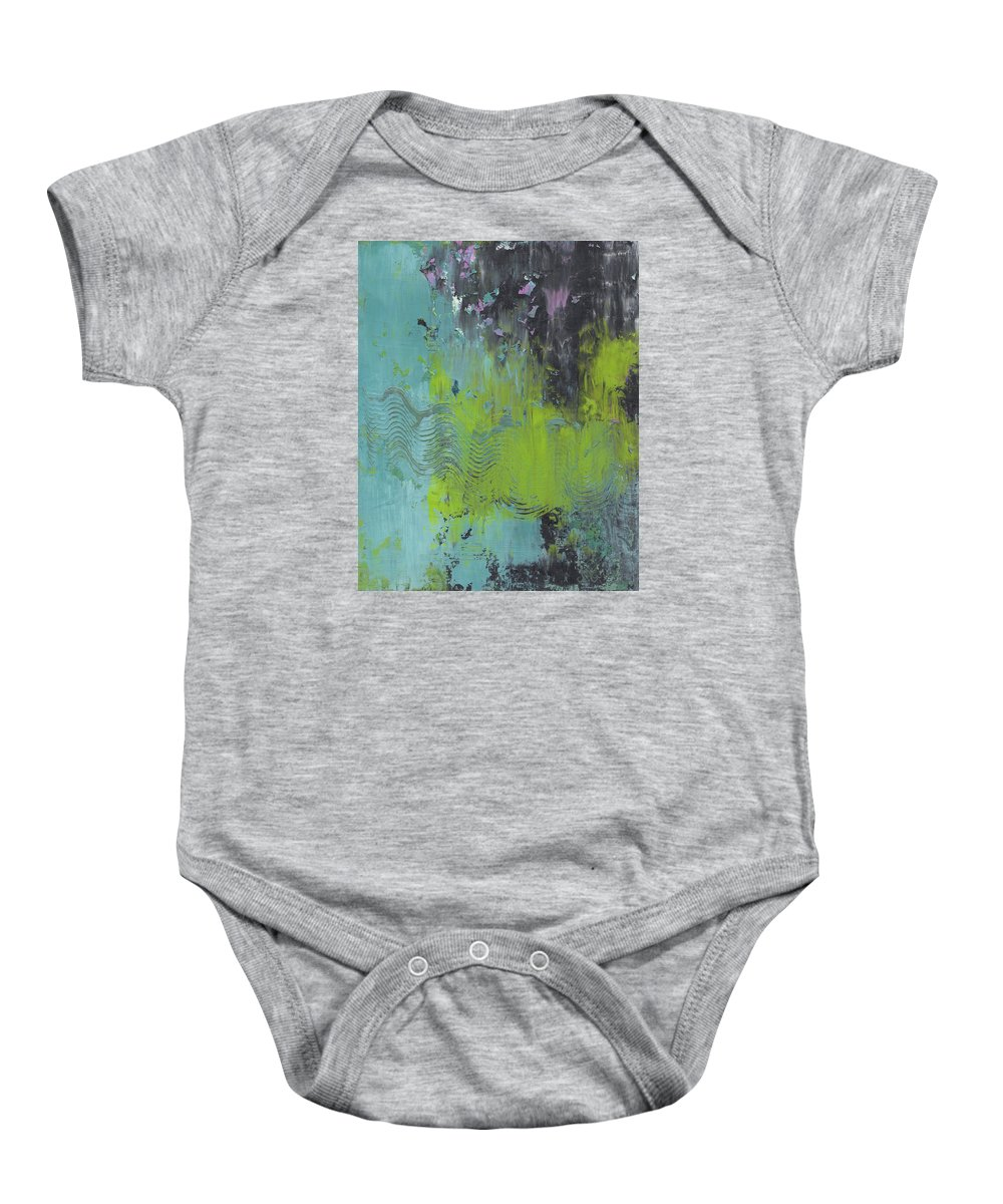 Abstract Baby Onesie featuring the painting Pieces Of Dreams by Marcy Brennan