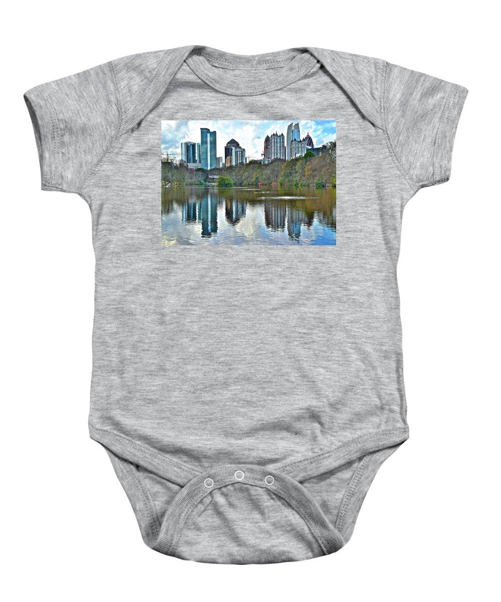 Atlanta Baby Onesie featuring the photograph Piedmont Park Atlanta Reflection by Skyline Photos of America