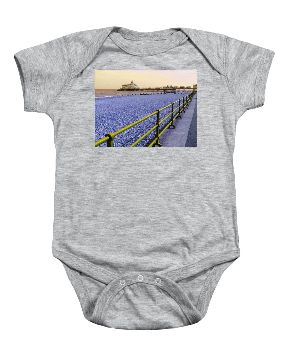 Pier Baby Onesie featuring the photograph Pier View England by Heather Lennox
