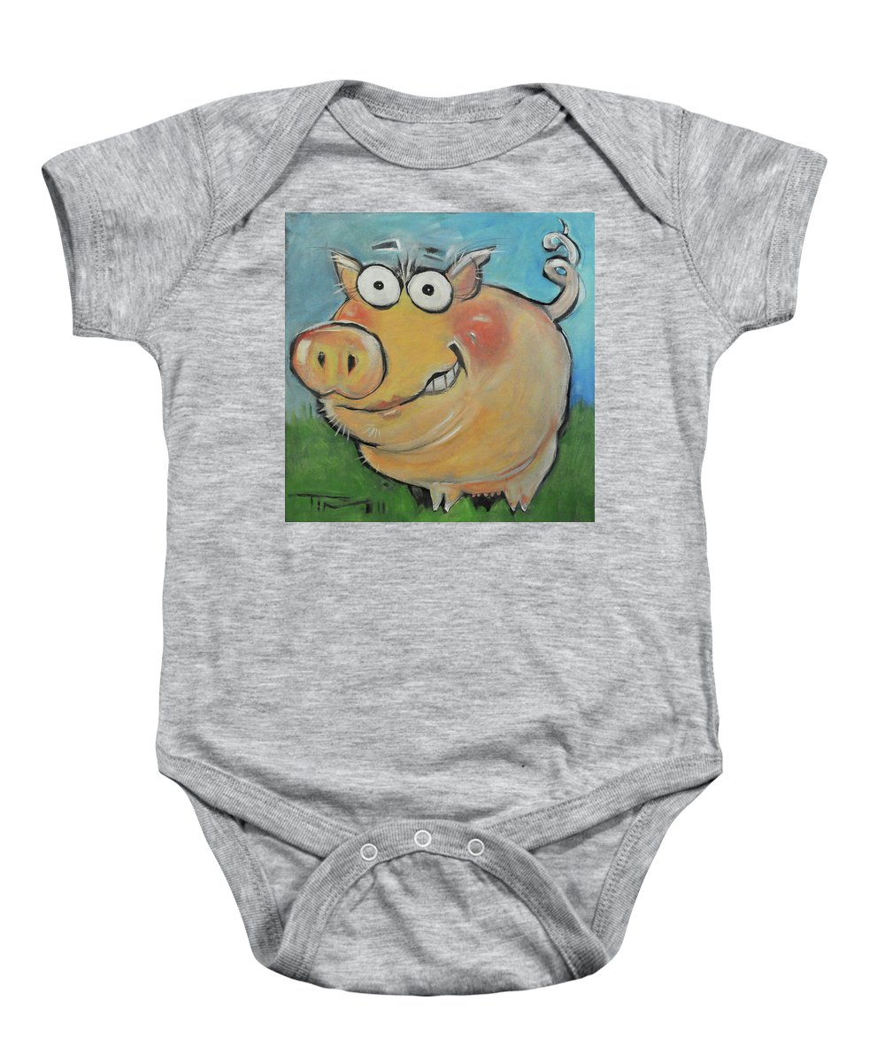 Pig Baby Onesie featuring the painting pig by Tim Nyberg
